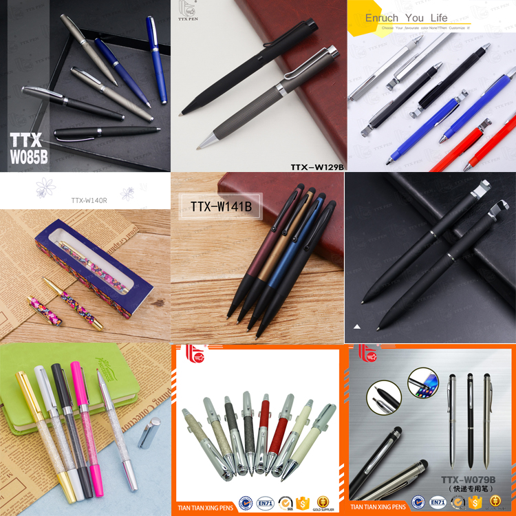 Wholesale metal pen with pu leather, silver refill pen leather marking pen leather mark