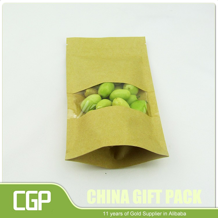 Food grade high quality laminated printed small empty paper sachet kraft paper bag with clear window