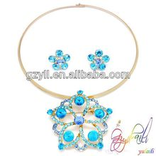 Yulaili 18k zinc alloy star design fascinating blue crystal lady necklace earring jewerly set