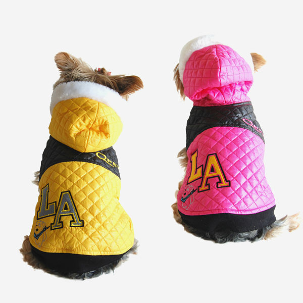 "Small Dog Pink & Yellow Quilted ""L.A"" Fashion Jacket Pet Winter clothing"