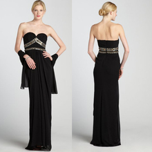 2014 Latest Style Black Strapless Beaded Prom Dress with Shawl