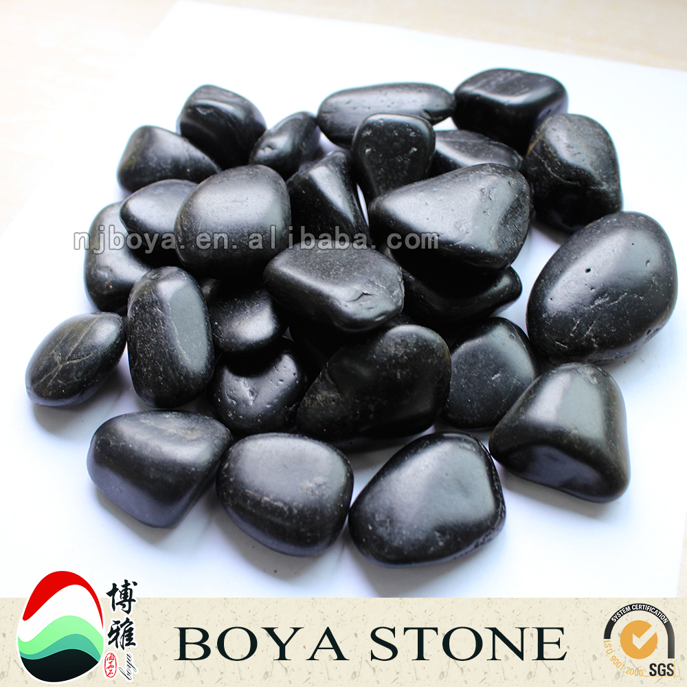 black natural pebble stones, river rock for landscaping