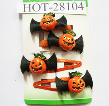 Halloween hair clips hair accessories pumpkin hair clips and pony for kids