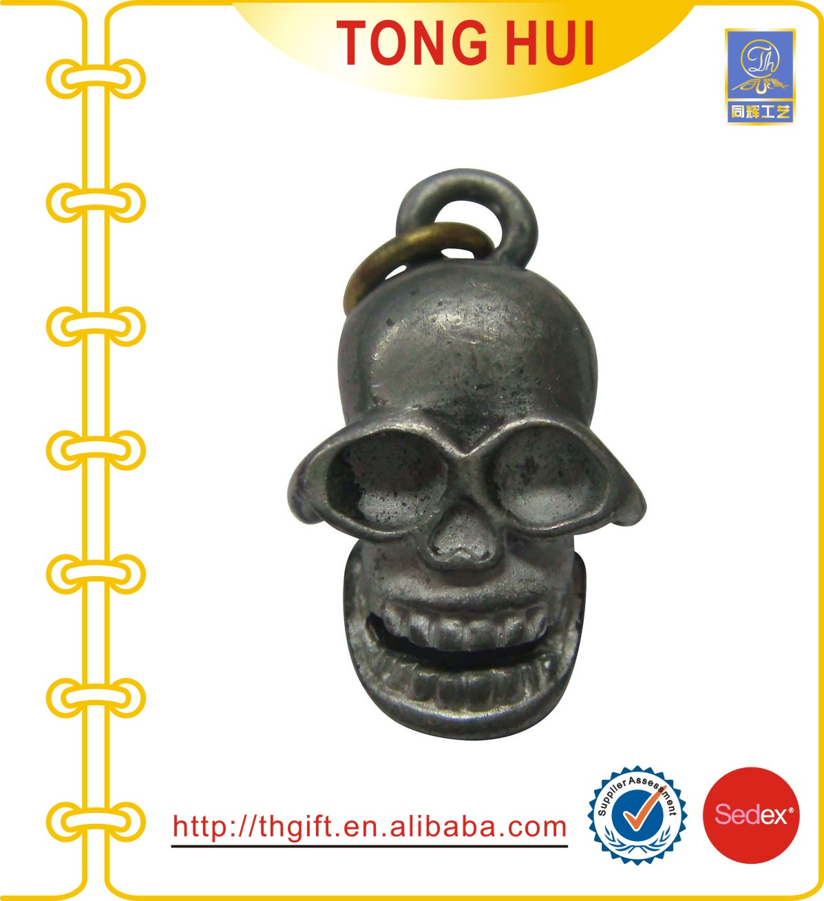 Metal crafts with 3D Skull head design attached the keychain