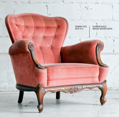 Pink Color Flaring Back Single Seater Sofa