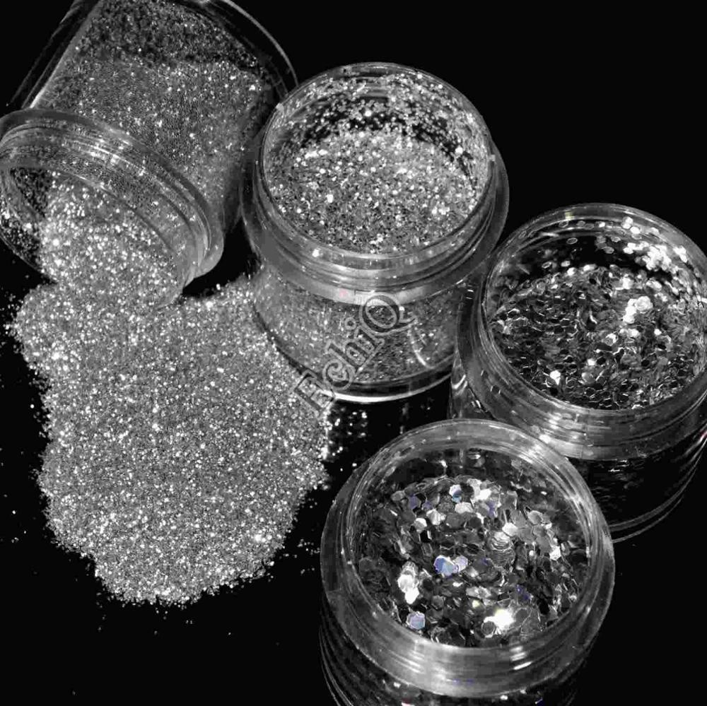 Bright Silver Color Nail Art Glitter 3D Hexagon Shape Sequins Acrylic Powder Dust for Nail Body Craft Decoration