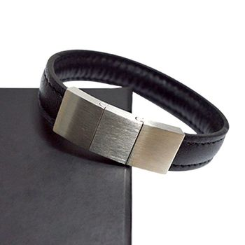 Wholesale promotional gift male stainless steel metal pu leather bracelet