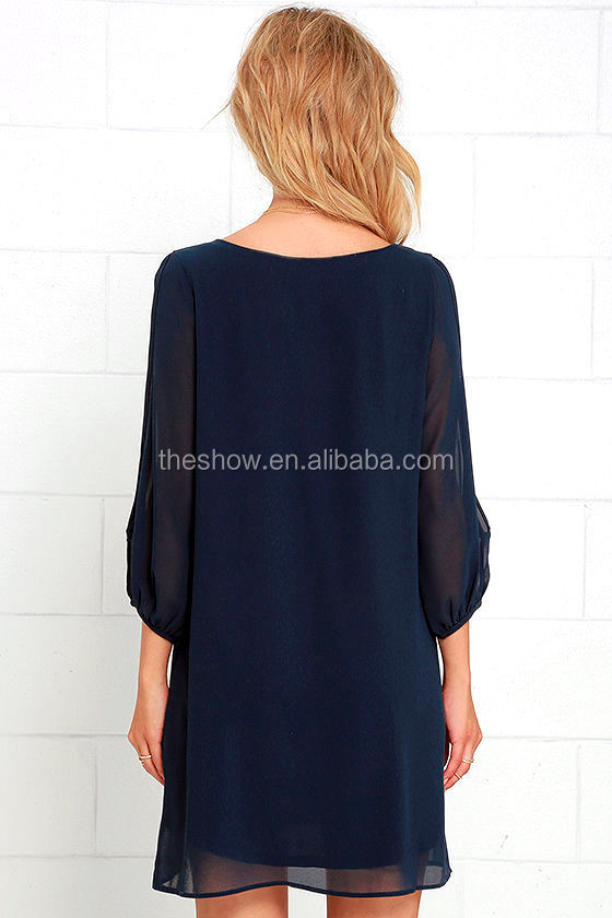 Cold shoulder solid long sleeve chiffon casual dress