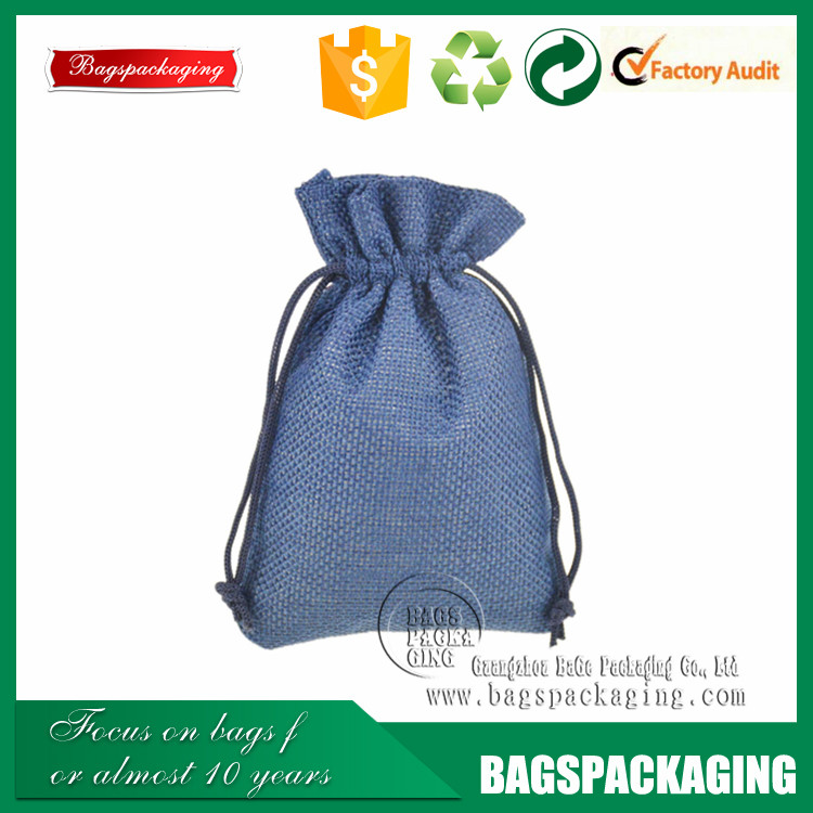 light blue drawstring jewellery packaging fancy jute bag