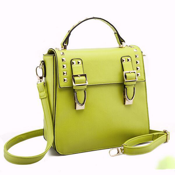 2015 New Arrival European and American Style Trunk Shaped Rivet Crossbody Shoulder Bags Genuine Leather Women Leather Handbags