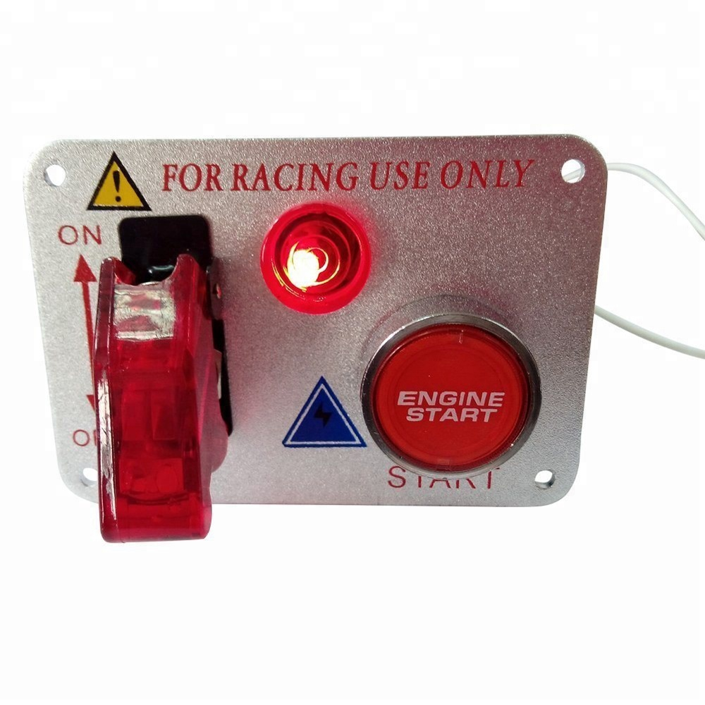 Racing Car 12V Ignition Switch Panel Engine Start Push Button Cover Toggle Switch 12V 20A Panels Red