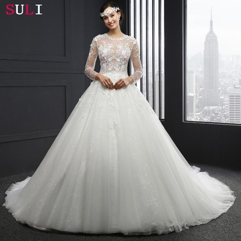MZ-0061 Long Sleeve O-neck Appliques Button Wedding Dress