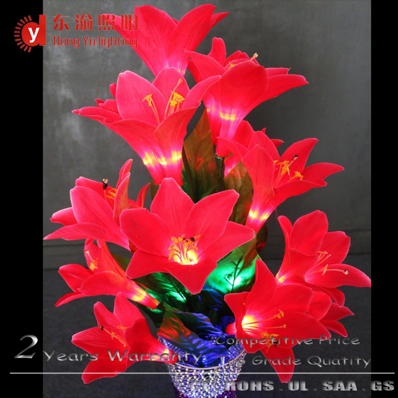 Interior house warming decoration waterproof lily flower vase light