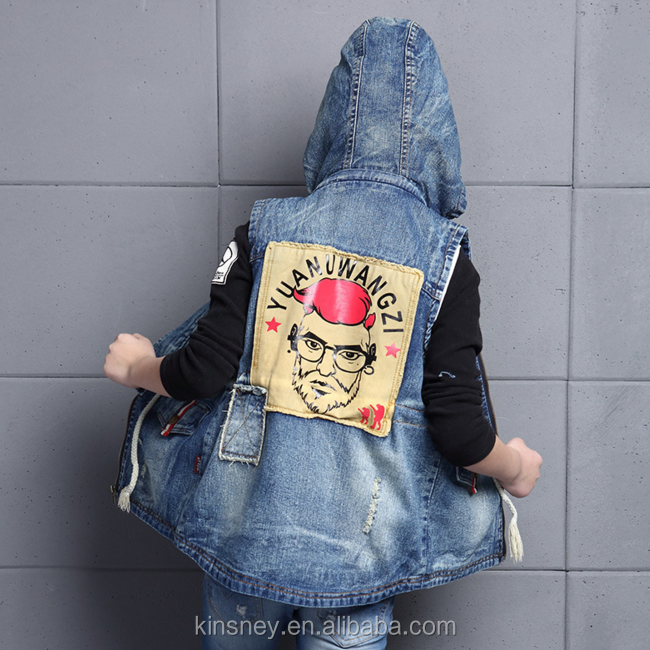 KS10467B Stylish back print elder boys denim hooded vest 2017 boys fashion dress