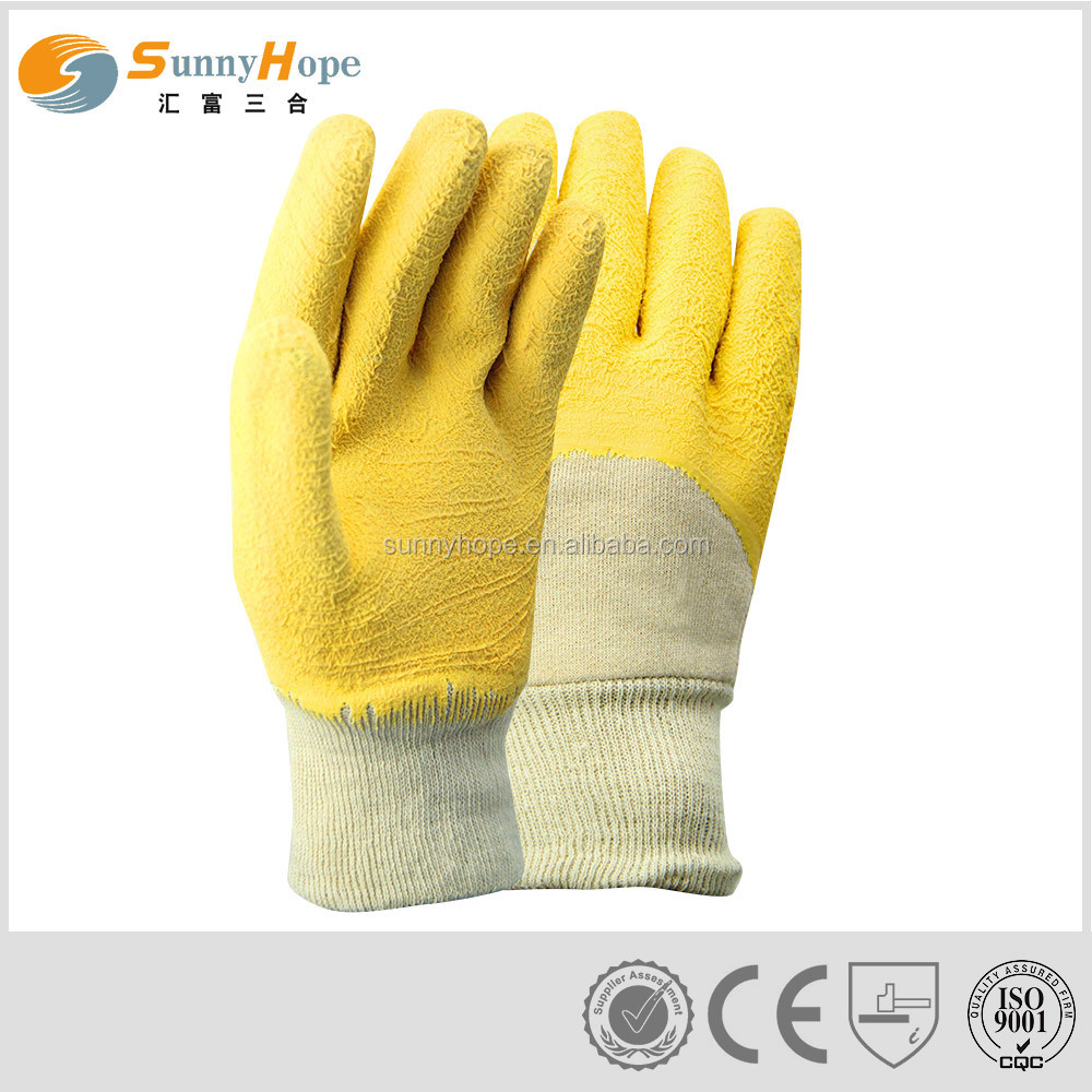 Crinkle yellow latex coated gloves for workman