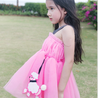 MS70238B 2015 girls hot summer net dress model girls strap spaghetti bubble dress