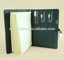 Wholesale Leather A5 USB Notebook With 8G USB Flash Disk 6000mAh Power Bank Dairy