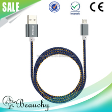 micro usb cable, new products 2016 Beauchy Leather Denim Micro USB Cable for ios/android/Type-C with free sample