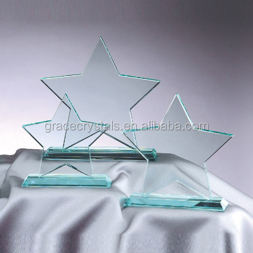 Star glass plaque jade glass star awards crystal glass crafts