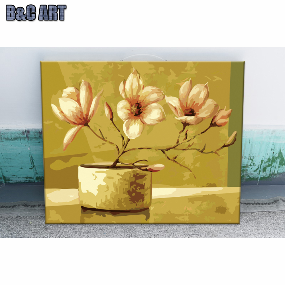 Flower Painting Pictures Diy Oil Painting By Numbers Kits Wall ...