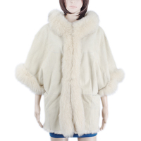 Women rabbit skin double face coat fox fur trim fur coat hoodie fur coat KZ150102