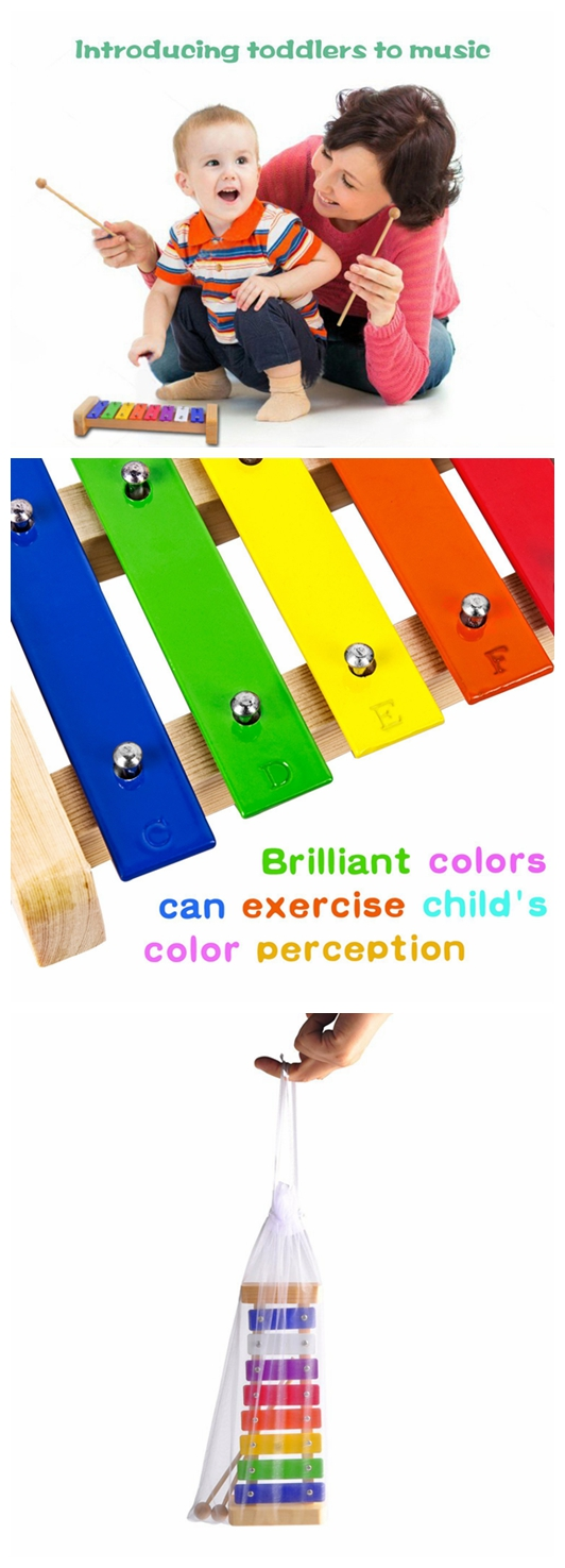 Non-Toxic Paint Classic Wooden Musical Toys 8 keys Xylophone for sale