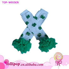 2015 quatrefoil Easter Leg Warmers knitted leg warmers/green ruffle Leg Warmer