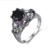 Wholesale Punk Style Black Gold Plated Copper Rings Colorful Gemstone Skull Wedding Rings For Women