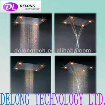 304 stainless steel water fall change roof color led shower