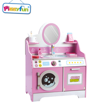 Cheap kids pink wooden toys kitchen set for pretend play