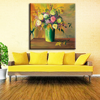 Handpainted CMS232 Ink friendly beautiful vase flower canvas oil painting