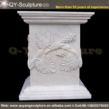 White Marble Pedestal Stand With Flower Decoration