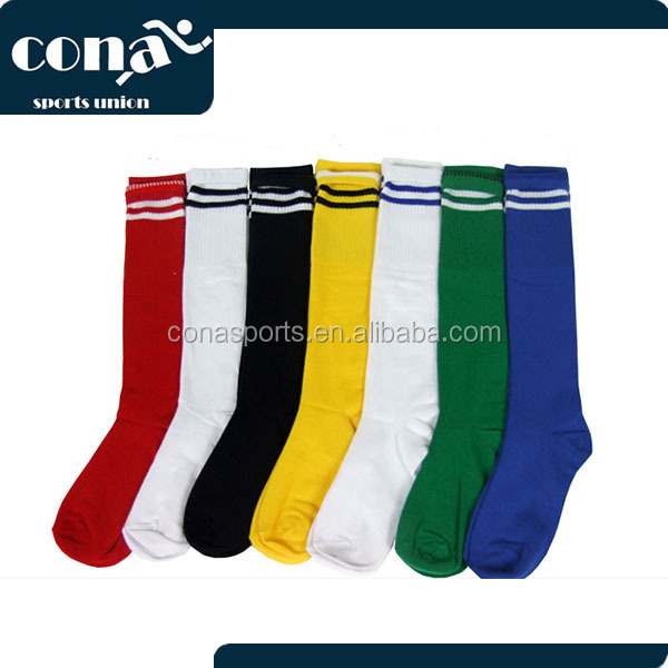 2017 Wholesale Knee High Stripe Football Sports Socks with seven color for free sample custom logo