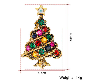 2017 New Arrival Silver&Gold Plated Colorful CZ Stone Christmas Tree Brooch Crystal Diamond Christmas Brooch