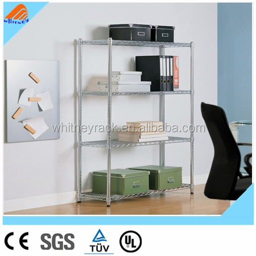 Home used chrome plated movable silver commodity wire closet storage shelving