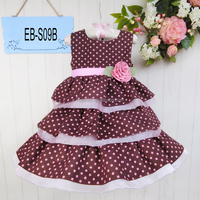 Fashion Dress With Flower Belt Latest One Piece Baby Cotton Frocks Designs Nice Kids Clothes