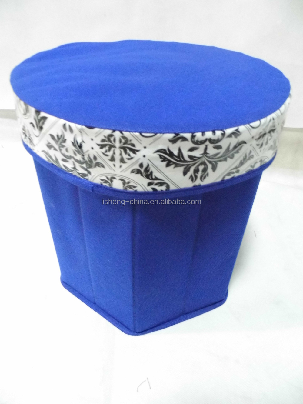 Fabric round storage stool