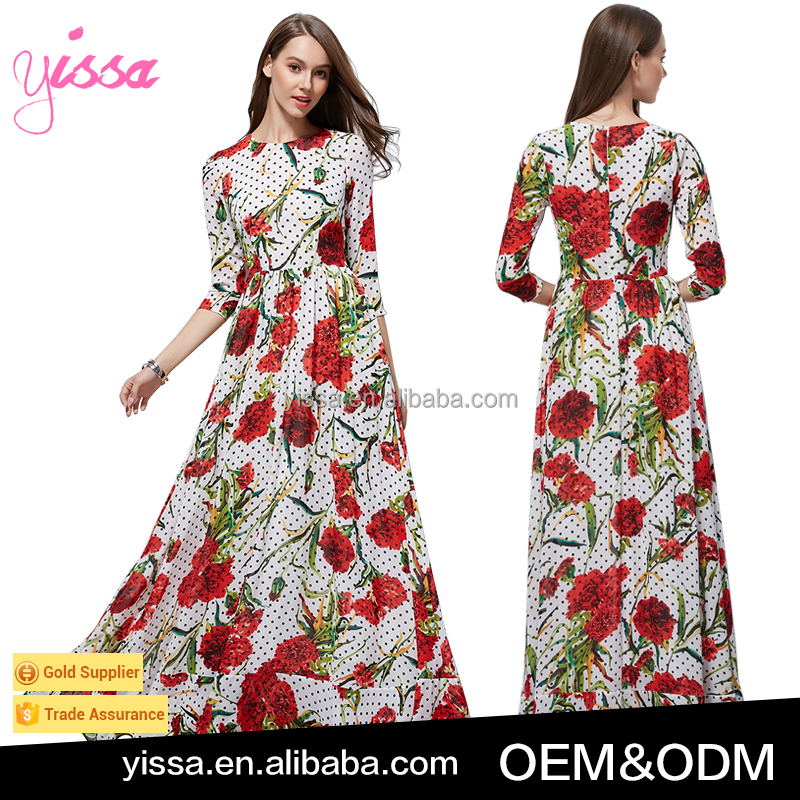 YISSA 2017 Elegant Slim the Latest Chiffon Printed Dress Evening Maxi Dress