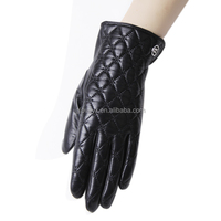 diamond pattern women leather gloves elegant style mental button embellished