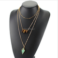 Daihe Gold Plated Multi Layer Long Chain Druzy Arrowhead Pendant Necklace