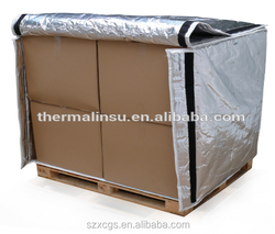 Silver container cover, heat insulated pallet cover, pallet thermal rejected cover