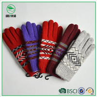 Smartphone knitting gloves jacquard style gloves touchscreen China manufacturer