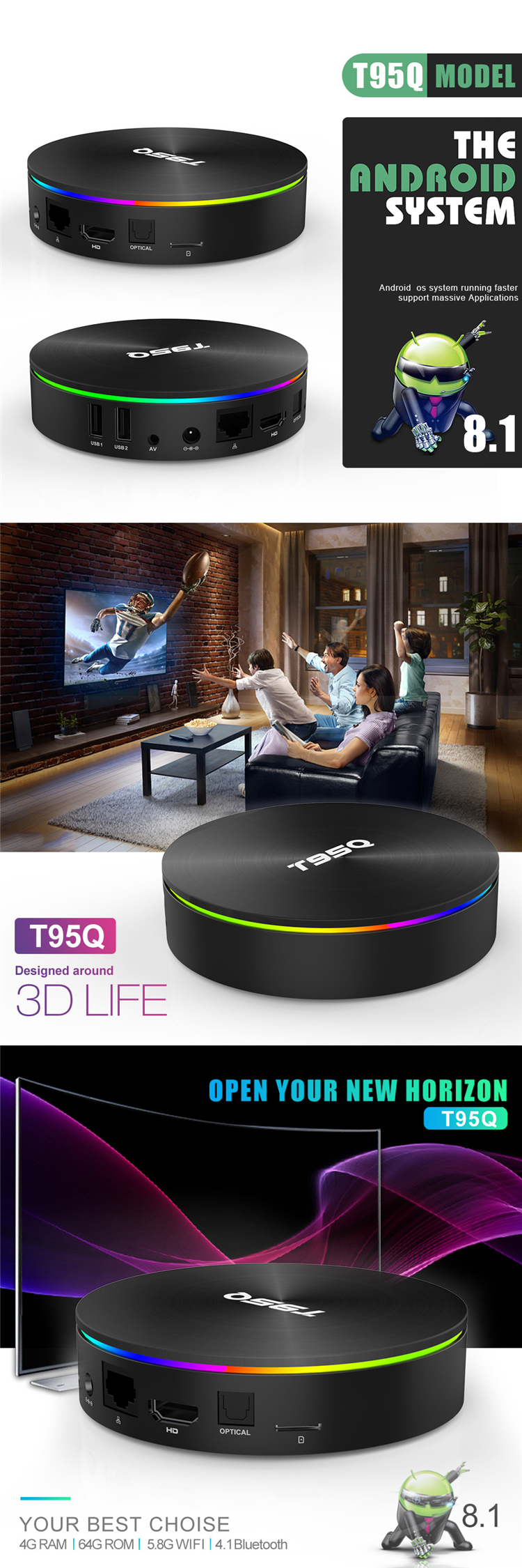 Latest Arabic TV Box T95q Amlogic S905X2 4GB RAM 32GB 64GB ROM Android 8.1 TV Cable Box