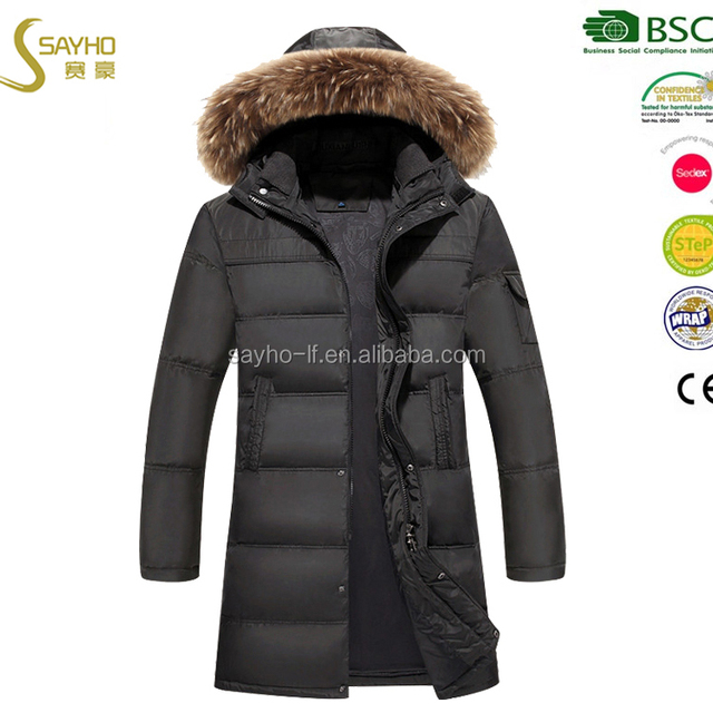 Winter down long jacket fake fur parka jacket for men