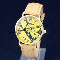 100pcs/lot wholesale price new watches, Geneva 2265 messy yellow plate belt table
