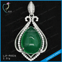 Good Quality 925 Sterling Silver Heart Jade Pendant Jewelry
