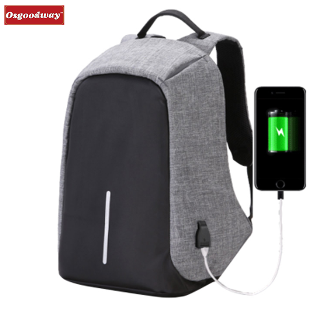 Osgoodway8 Fashion Canvas Men Backpack Anti Theft With Usb Charging Laptop Business Unisex Knapsack Shoulder Waterproof Backpack