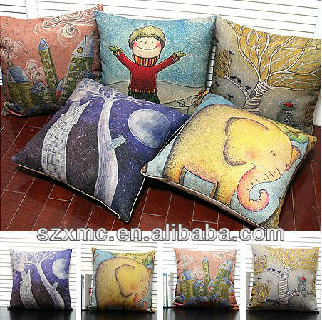 linen art design Mediterranean colorful cartoon animal design elephant painting cushion cover