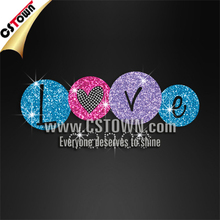 Love dance letters hotfix glitter rhinestone custom transfers for t shirts
