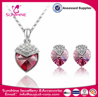 shipping from china Lovely Strawberry Heart-Shaped Pendant Crystal Necklace and Earrings Jewelry Sets